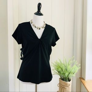 TALBOTS Black Rayon Short Sleeve V-Neck Top